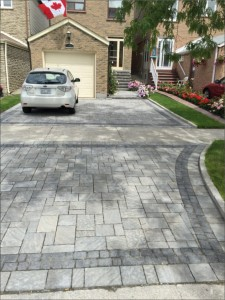 Two Color Stone Interlock Driveway and Front Walkway