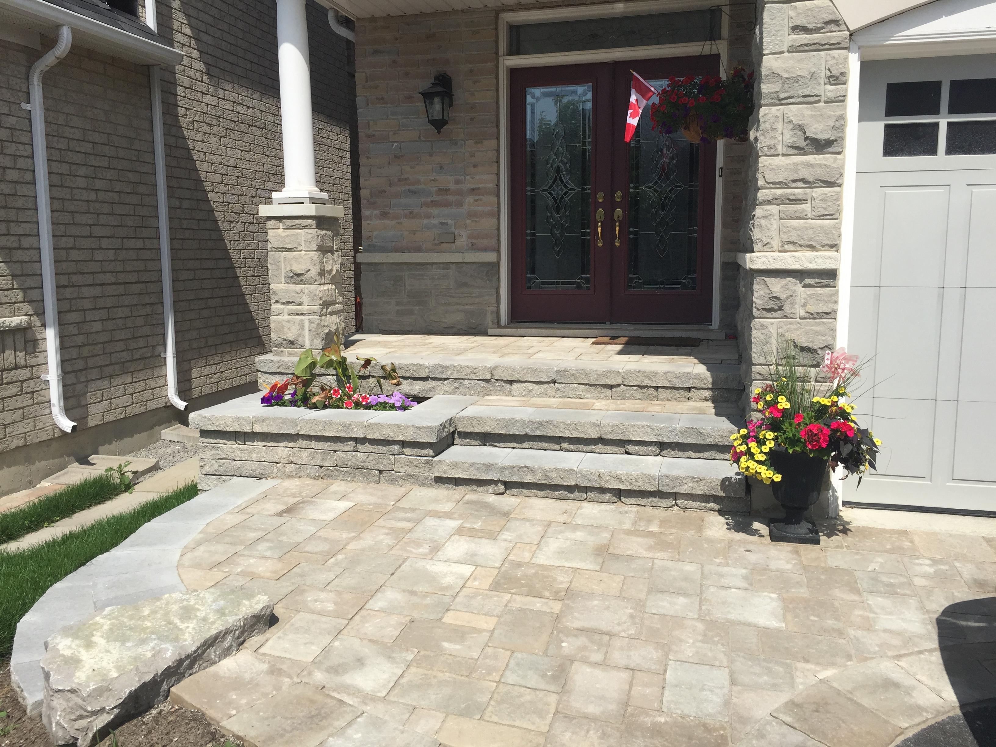Beautiful Stone Front Walkway Design