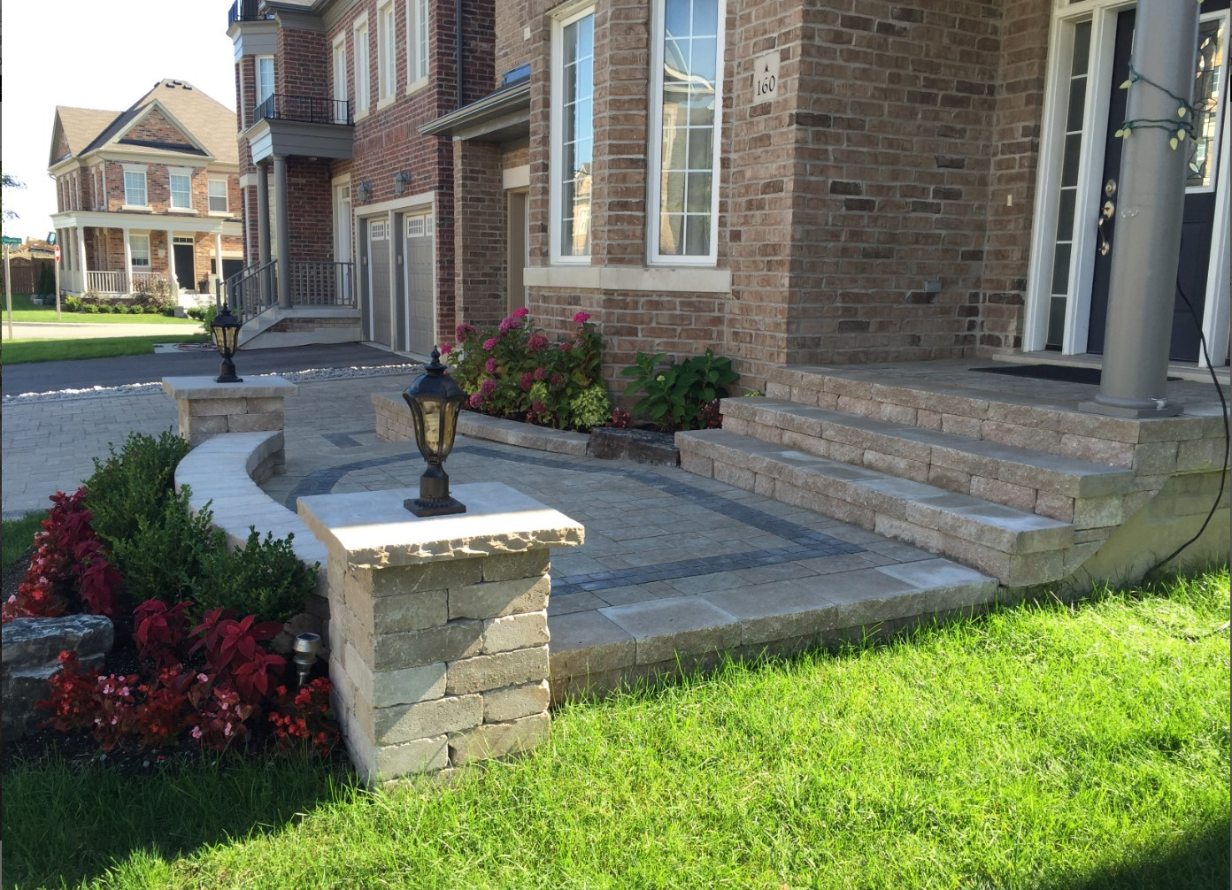 Beautiful Stone Front Walkway and Steps With Accent Lights
