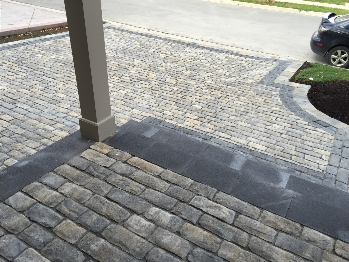 Executive Stone Brick Front Driveway and Front Steps
